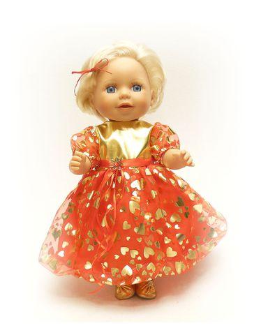 Платье рождественское - На кукле. Одежда для кукол, пупсов и мягких игрушек.