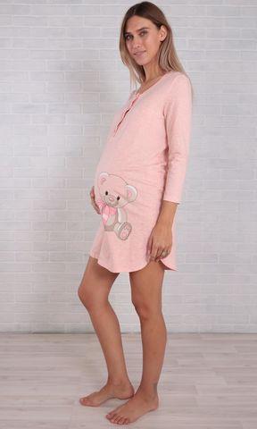 Евромама. Ночная сорочка с мишкой розовый меланж, большие размеры