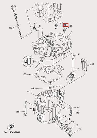 Клапан 螺纹M14×1.5 для лодочного мотора F9,9 Sea-PRO (24-9)