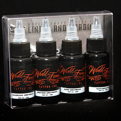 Краска World Famous Tattoo Ink WORLD FAMOUS LINING AND SHADING SET -4шт