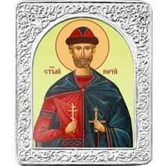 Святой Юрий. Маленькая икона в серебряной раме.