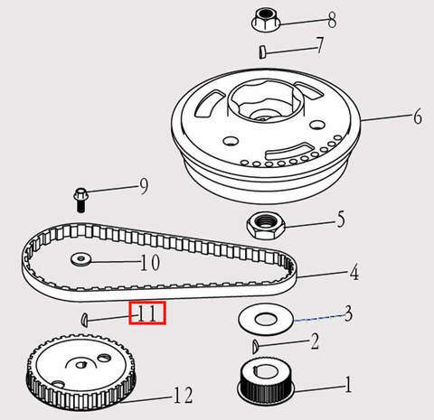 Шпонка шкива коленвала для лодочного мотора F9.8 Sea-PRO (5-11)