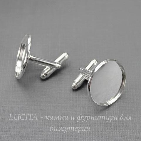 Основа для запонок с сеттингом для кабошона 20 мм (цвет - серебро), 19х18 мм ПАРА