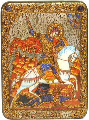 Инкрустированная икона Чудо святого Георгия о змие 29х21см на натуральном дереве в подарочной коробке