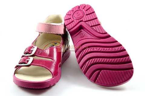 Босоножки Тотто из натуральной кожи с открытым носом для девочек, цвет малиновый розовый. Изображение 8 из 12.