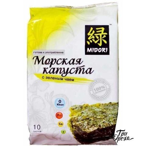 Морская капуста нори Midori с зеленым чаем, 5 гр