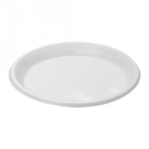 Тарелка одноразовая десертная диам.167мм пластик.,бел., ПС 100шт./уп.