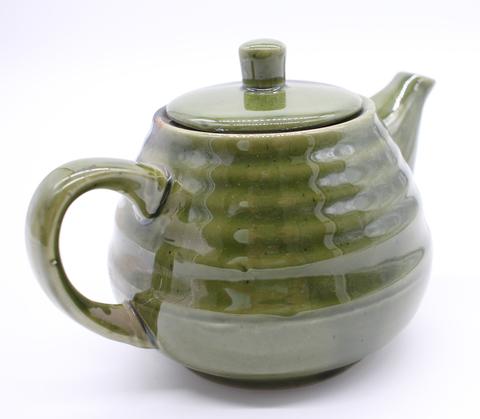 Чайник заварочный керамический зеленый с цветами , 1,2л