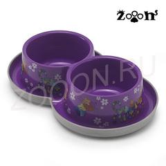 Moderna миска двойная нескользящая Друзья навсегда с защитой от муравьев, фиолетовая 2х0,35 л