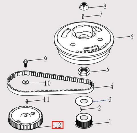 Шкив распредвала для лодочного мотора F9.8 Sea-PRO (5-12)