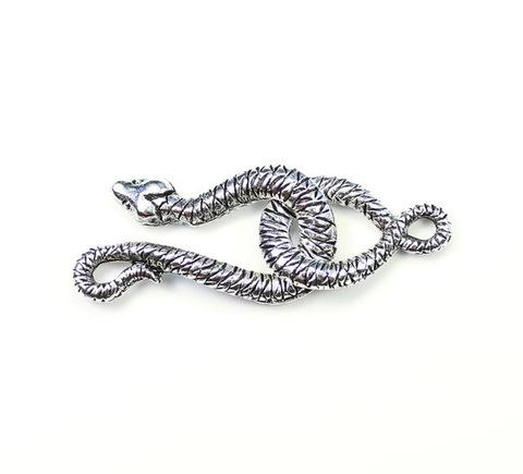 """Замок - крючок из 2х частей Quest Beads """"Змея"""" (цвет-античное серебро) 29х15 мм, 21х13 мм"""