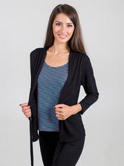 0361-1 блуза женская Елена, черно-зеленая