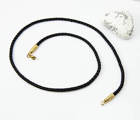 Шнур чокер из текстиля с позолоченным карабином «Византия»