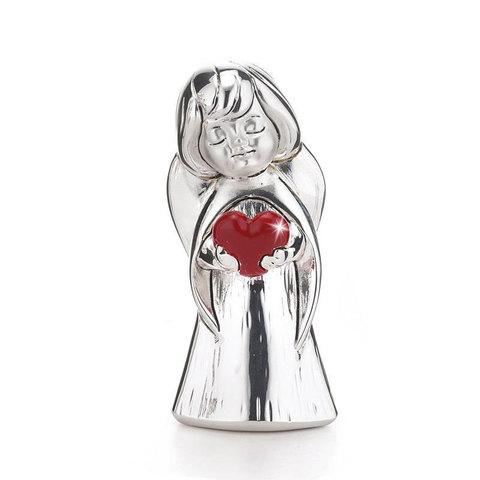 Серебряная фигурка Ангел с красным сердцем