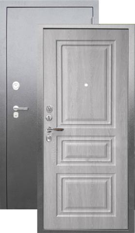 Сейф-дверь входная Аргус Люкс ДА-91, 2 замка, 2 мм  металл, (серебро антик+филадельфия грей)