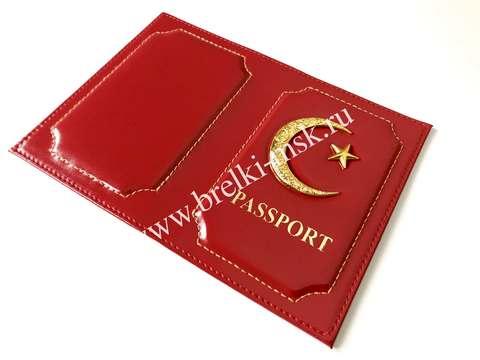 Обложка для паспорта из натуральной гладкой кожи с Полумесяцем и Звездой. Цвет Красный