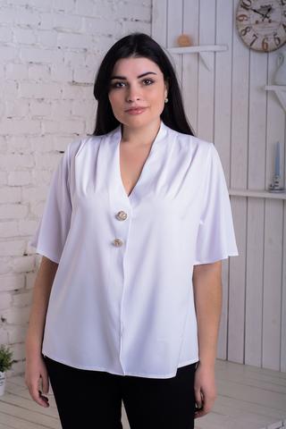 Хильда. Нежная женская блуза больших размеров. Белый