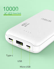Аккумулятор WiWU JC-02 (10000 mAh, USB/Type-C) белый