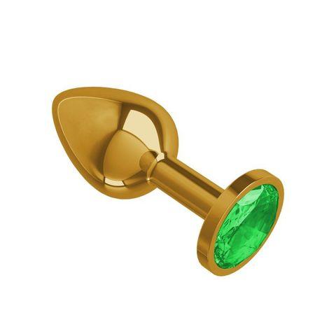 Анальная втулка Gold с зеленым кристаллом маленькая