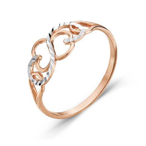 Кольцо с алмазной гранью и позолотой