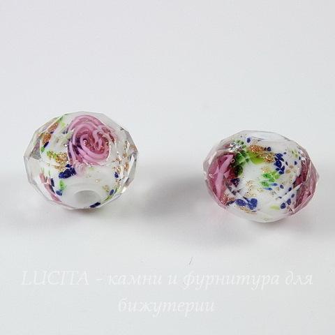 """Бусина Лэмпворк """"Розы"""", рондель с огранкой, цвет - белый, 12х9 мм"""