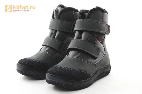 Зимние ботинки для мальчиков из натуральной кожи на меху Лель на липучках, цвет серый. Изображение 5 из 15.