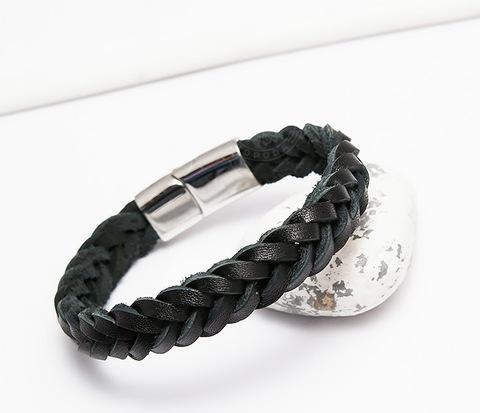 Плетеный браслет из натуральной кожи черного цвета (19 см)