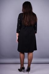Жемчуг. Элегантное платье плюс сайз. Черный.