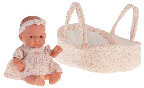 Munecas Antonio Juan Кукла-младенец Вера в роз. люльке, 26 см (4076P)