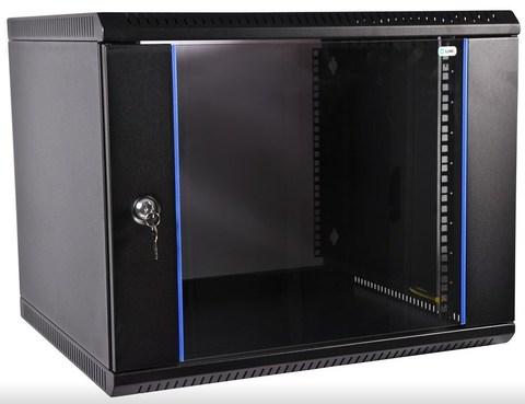 Шкаф ЦМО ШРН-Э-9.500-9005 телекоммуникационный настенный разборный 9U (600 × 520) дверь стекло, цвет черный