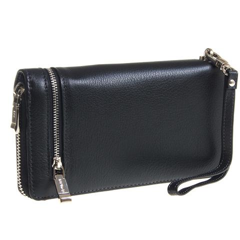 Мужской чёрный клатч портмоне из натуральной кожи GALIB 7M227