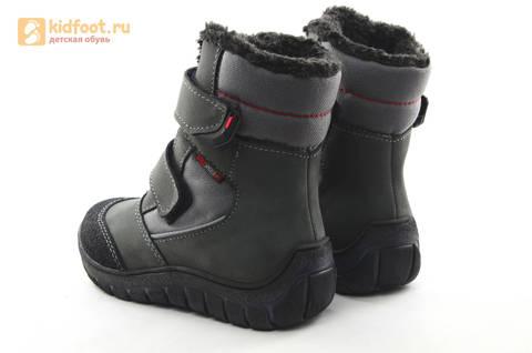 Зимние ботинки для мальчиков из натуральной кожи на меху Лель на липучках, цвет серый. Изображение 6 из 15.