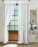 Длинные шторы. Микросетка с вышивкой Нежность-T (молочная)