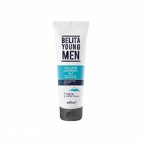 Белита Belita Young MEN Гель-скраб 2 в 1 для очищения против черных точек и врастания щетины 100мл