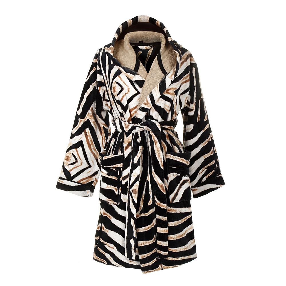 Элитный халат велюровый Zebrato с капюшоном от Roberto Cavalli