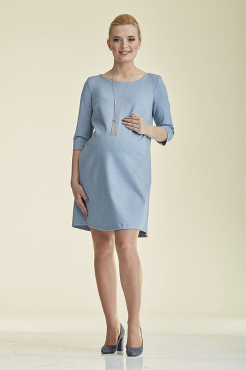 Платье для беременных 08830 серо-голубой