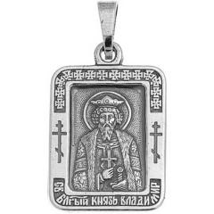 Святой Владимир. Нательная икона посеребренная.