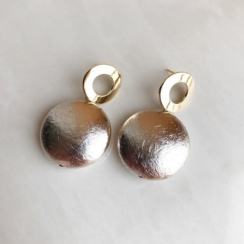 Серьги Фольга, серебряный цвет