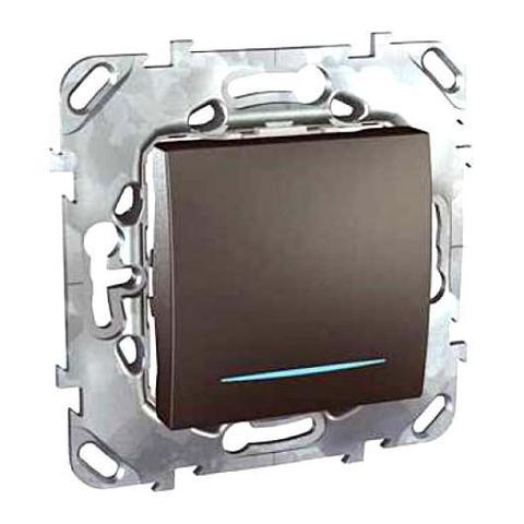 Выключатель кнопочный с подсветкой одноклавишный - Кнопка звонка с подсветкой - Выключатель без фиксации с подсветкой. Цвет Графит. Schneider electric Unica Top. MGU5.206.12NZD