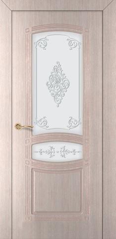 Дверь Румакс Троя-1 ДО, цвет беленый дуб, остекленная