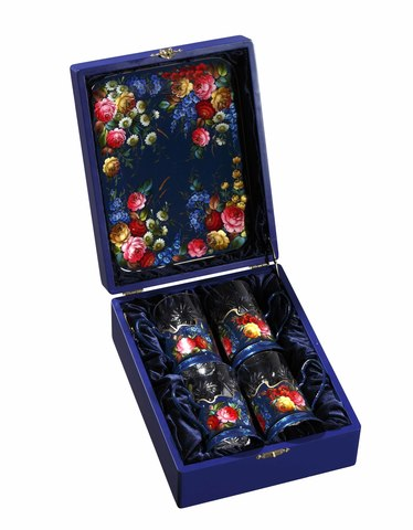 Zhostovo tea glass holders in wooden box - set of 4 tea glass holders and hand forged tray SET04D-667785795