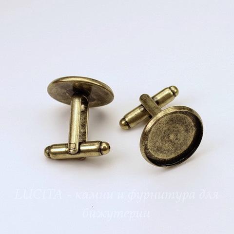 Основа для запонок с сеттингом для кабошона 16 мм (цвет - античная бронза), 19х18 мм, ПАРА