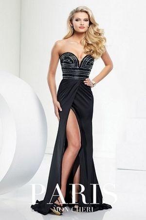 Tony Bowls 116721 платье в пол, лиф украшен бисером, юбка длинная с высоким разрезом,цвет:черный