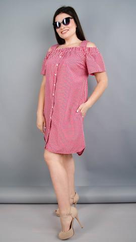 Клариса. Гарна сукня-сорочка плюс сайз. Червона клітинка.