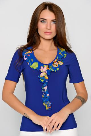 """Модная блузка на каждый день. Рукав короткий. Ворот """"жабо""""."""