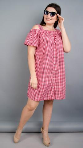 Клариса. Красивое платье-рубашка плюс сайз. Красная клетка.