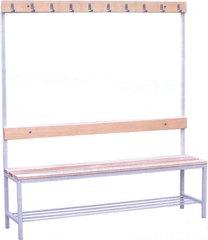 Вешалки для раздевалок со скамьей и крючками (односторонние) 1.3 метра