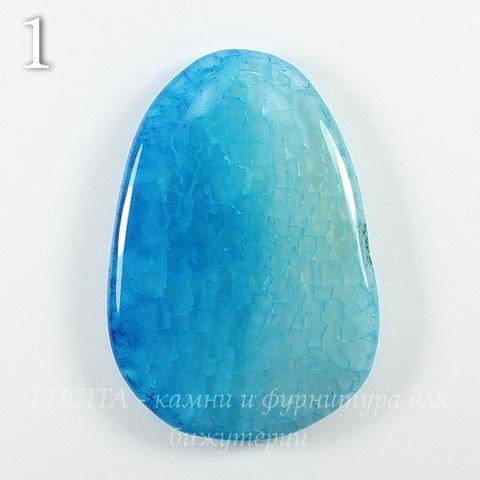 Подвеска Агат (тониров), цвет - голубой (№1 (53х36 мм))