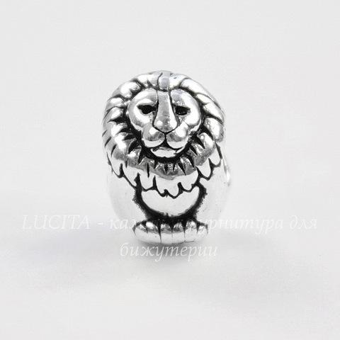 "Бусина TierraCast ""Лев"" (цвет-античное серебро) 12х10х9 мм"