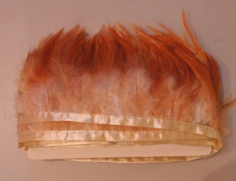 Тесьма  из перьев петуха h- 8-10см., 9 м. натуральный рыжий